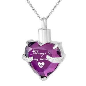 Collar del cardiograma del corazón de la joyería de la cremación siempre en mi collar conmemorativo de las cenizas Colgante del recuerdo