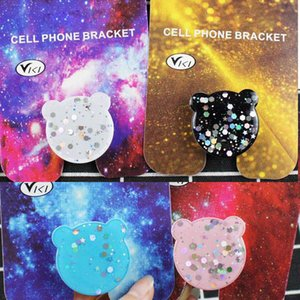 Bling Universal Cell Phone Holder With Bear Real Expandable Grip Stand 360 graus Finger Holder for iphone xs max