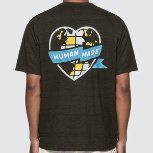 20SS Street Trend HM Love Heart Printing Logo Tee Lattice шаблон с коротким рукавом рубашки Пара женщин конструктора Мужская мода футболки HFXHTX222