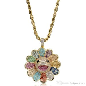 Sunflower Pendant Zircon-inlaid Multicoloured Flowers Can Rotate Hip-hop Pendant Hot-selling New
