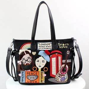 Johnature 2020 New Fashion Cartoon Shoulder Bags Large Capacity Women Bag Casual Tote Handmade Embroidered Lady Messenger Bag