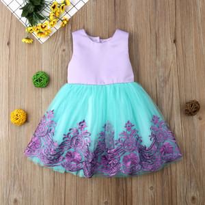 Pudcoco Criança roupa do bebê da menina bowknot Backless Lace Flower Tulle Dresss Princesa Partido do vestido de casamento Pageant