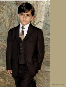 Fashion Boy trajes de baile Marrón Notch Lapel Boy's Formal Wear Ocasión Niños Tuxedos Wedding Party Suit (Jacket + Pants + Vest)
