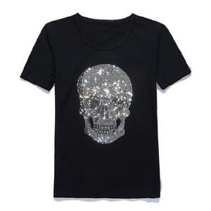 Nuevas mujeres Shinning Skull camiseta de perforación en caliente de algodón negro de manga corta de alta calidad con estampado de diamantes de imitación calavera camiseta Top Tees Y19072001