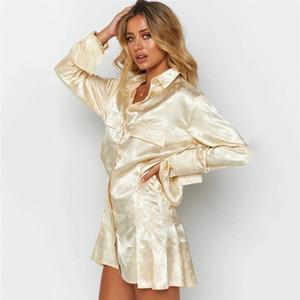 Abiti firmati Solid Abiti Ruffle casual maniche lunghe risvolto del collo veste le donne Moda Abbigliamento Donna Shirt
