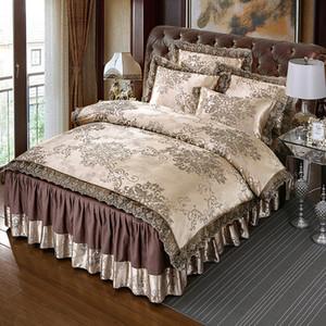 4шт Атласа жаккардовые кружева постельных принадлежностей королева король размер пододеяльник комплект кровать юбка постельное белье наволочки