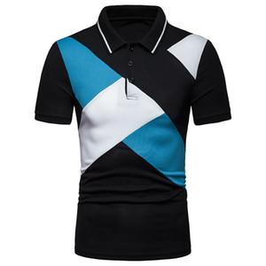 Marka Erkek 'S Polo Gömlek Moda Dikiş Tasarım Yaka Kısa Kollu Tişört Pamuk Casual Erkek Polos Patchwork Asya boyutu
