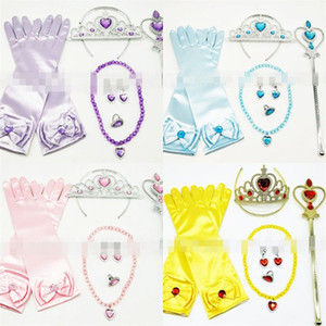 Accessori per la principessa Accessori Colori dorati Corona Bacchetta magica Anello collana Orecchino Guanto Abito da ragazza Dress Up Prop 14ap L1