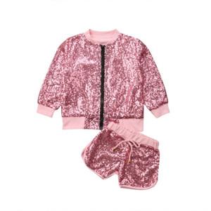 2019 Nuovo Tollder bambino del capretto dei vestiti di modo belle ragazze Bling Bling Paillettes giacca cardigan e brevi Outfits vestiti alla moda