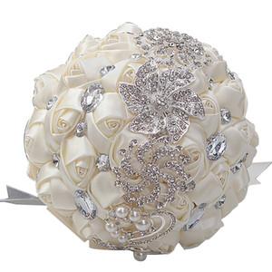 Многоцветные цветы подружки невесты 2019 новый кружевной лентой роскошный свадебный букет со стразами с жемчугом Искусственные розы горячая распродажа