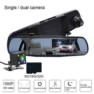 """Schermo Full HD 1080P macchina fotografica dell'automobile DVR Specchio retrovisore tocco di 4.3"""" Dvring doppia dell'obiettivo registratore macchina fotografica del precipitare Registrator Videocamera"""