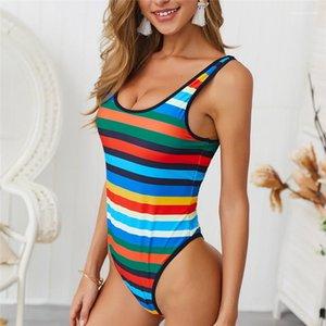 Pieza para mujer traje de baño atractivo de rayas trajes de baño de las señoras de impresión sin respaldo diseñador del traje de baño Una tela escocesa del verano