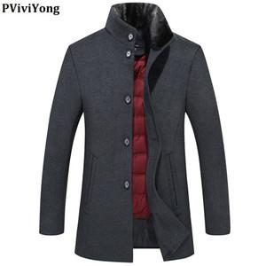 PViviYong 2019 новое прибытие зимой высокое качество шерсти траншею пальто мужчин, вниз куртка лайнера меховой воротник куртки мужчин 8865