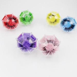 3D Mink pestañas del paquete Cajas pestañas falsas embalajes vacíos caja de la pestaña Caso creativo del paraguas en forma de pestañas caja de empaquetado RRA3096
