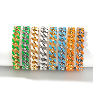 New hip hop stainless steel oil color Cuban chain 12mm fashion trend men's and women's bracelets