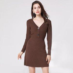 Pop2019 Abito-vestito e modello Versione europea V Lead Knitting Dress Sleeve Long Ma'am Pullover Rendering Sweater Skirt