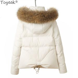 Tcyeek 2019 Piumino d'anatra in pelliccia di procione naturale di alta qualità 2019 Cappotto corto invernale da donna Plus Size 2XL Abrigos Mujer Outwear LX1268 SH190913