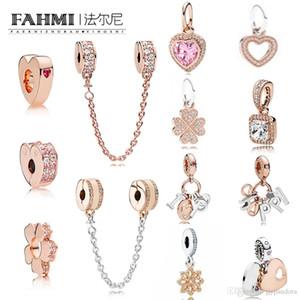 WPENNYI 100% 925 Silver Charm in oro rosa separato di sicurezza catena pendente a forma di cuore gioielli fiocco di neve Exquisite modo delle signore