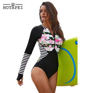 Hotapei 2019 Yeni Baskı Tek Parça Mayo Uzun Kollu Mayo Kadınlar Fermuar Mayo Retro Spor Bodysuit Sörf Yüzmek Aşınma Y19062801
