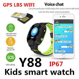WiFi Montre Smart Y88 enfants Positionnement étanche Photographier Appel montre avec bracelet Respirant enfants pour le bébé Fille Emplacement pour carte SIM Y92