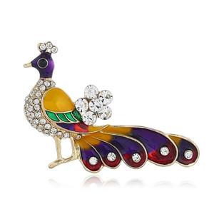 Broche De Paon Coloré Broches Femmes Diamants Animal Broches Fille Noble Princesse Peafowl Pin Designer Bijoux