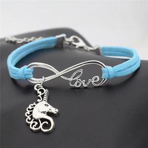 Camurça De Couro azul Infinito Amor Sorte Cabeça de Cavalo Unicórnio Envoltório Cuff Charm Bracelets Pulseiras Moda Feminina Homens Jóias Para Qualquer Ocasião vestido
