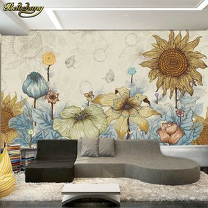 beibehang 3D modern simple hand-painted flowers warm theme mural living room bedroom children's room background wallpaper