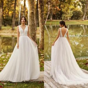 2020 Summer Beach Wedding Dresses V Neck Lace Apliques A-Line Tulle Boho Wedding Dress Sexy Backless Bridal Gowns Robes De Mariée