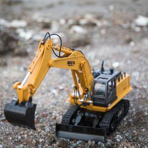 HN510 11 Canais RC Escavadeira Digger brinquedo, Diecast Alloy modelo, 680 ° gira, 01:16 escala de tamanho, luzes de som, presentes Kid Xmas Menino do aniversário