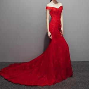 2019 nova sexy vermelho noite vestidos sereia tribunal treinar vestidos de noiva lace com brilhantes lantejoulas lace-up de volta longo runway vestidos