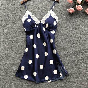 Pijamas sexy Nightdress Womens Sexy Satin Sling Lace Dot Sleepwear Lingerie Nightwear Underwear Camisn Sleeping wear T200706