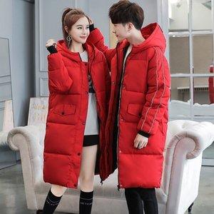 Quente Moda feminina Inverno amantes Parka longo Thicken acolchoado com capuz jaqueta casaco de Boyfriend Masculino Brasão Cap Windbreaker Parkas