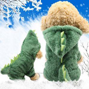 Pet Dog Dinosaur vestiti del gatto Carino Trasfigurazione del cappotto Abito Accessori del cucciolo del cane inverno caldo con cappuccio cappotti Dinosaur
