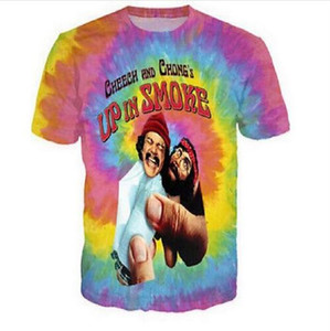 New Fashion Cheech and Chong UP IN SMOKE Tie-dye O Neck T-shirt Large Size Leisure 3D Printing Personality Loose Fitness Workout Tee Shirts