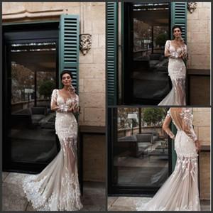 Nora Naviano Yeni Denizkızı Gelinlik Şeffaf Boyun Aplike Plaj Gelinlik Uzun Kollu Vintage elbiseler de soirée