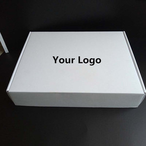 100PCS / lot Gewohnheit dicke weiße Wellpapier Versand Mailer Boxen Gedruckt Kleidung Unterwäsche Polohemd Box Verpackung