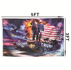 Hot 90 * 150 cm Donald John Trump bandeiras Amercia Flags Cabeça de Poliéster Metal Ilhós Personalidade Decortive Trump Bandeira Bandeira 8586