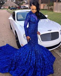 2020 Элегантный Royal Blue длинными рукавами кружева Русалка Пром платья Тюль аппликация бисером 3D Цветочные Длина пола Вечерние платья партии BC0749