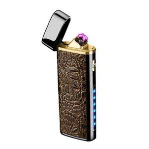 Красочные кожа зерна цинкового сплава USB зарядки зажигалка светодиодная подсветка фонарик многофункциональный портативный для сигарет табак Курение DHL