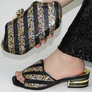 Italian Shoes With Matching Bags Set Italy African Women's Party Shoes and Bag Sets black Color Women shoes! GR1-8
