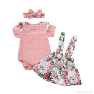 Baby Girls Liguero Falda Trajes Romper Tops Floral Print Correa Vestido Con Diadema 3 unids / set Ropa de Verano Moda Niños Conjuntos
