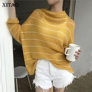 Le donne di moda Xitao sottile Maglione nuovo 2019 Autunno elegante pullover a strisce casuale minoranza stile sciolto maglione WLD2972