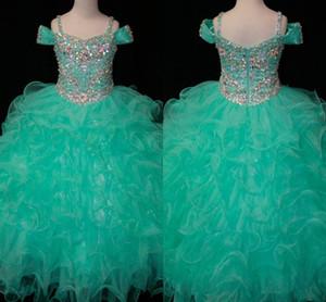 Cristales verde menta Vestidos para niñas de flores Muchachas largas Pageant Niños pequeños para niña Infantil Glitz barato Comunión Prom Baile