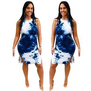 Taraflar sapanlar BODYCON Elbise Moda Tek parça Giyim Kıyafetler YENİ C42203 Kadınlar BODYCON Elbise Kolsuz İnce Skinny Etek Tie-boyalı
