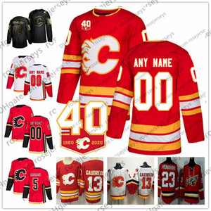 Özel Calgary Flames 2019 40TH Herhangi Numarası Adı 7. TJ Brodie 11 Backlund 17 Milan Lucic 19 Matthew Tkachuk Rittich Kırmızı Beyaz Forma