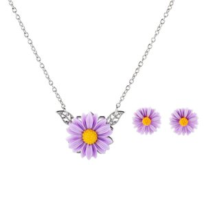 Purple Acrylic Sunflower Pendant Necklace Women Flower Leaves Long Choker Necklaces Sets Fashion Jewelry Accessories