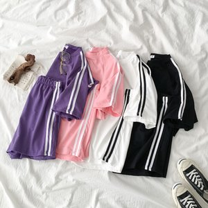 Casual Tracksuit Two Piece Outfits Side Striped Pant Set Summer Short Sleeve T-shirt + High Waist Shorts Purple Matching Sets