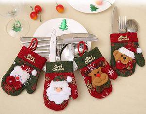 Посуда украшения Рождественский олень Санта Printed Ножевые держатель перчатки Cute Christmas Party Gift Новогодние украшения WY148Q