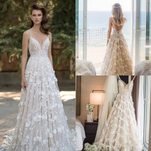 2020 Новый Пляж Глубокий V шеи Свадебные платья полный шнурок 3D Цветочный Аппликация свадебное платье из бисера Sexy Back линия Свадебное платье 4628