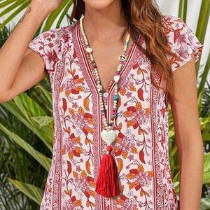 Rilievo Handmade geometrico ciondolo tondo collana turchese colorato nappa accessori stile bohemien